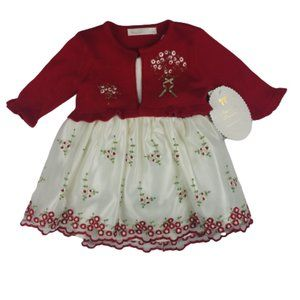 American Princess floral red and ivory Baby Dress